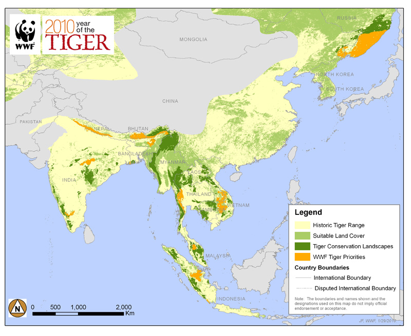 Where Do White Tigers Live Map