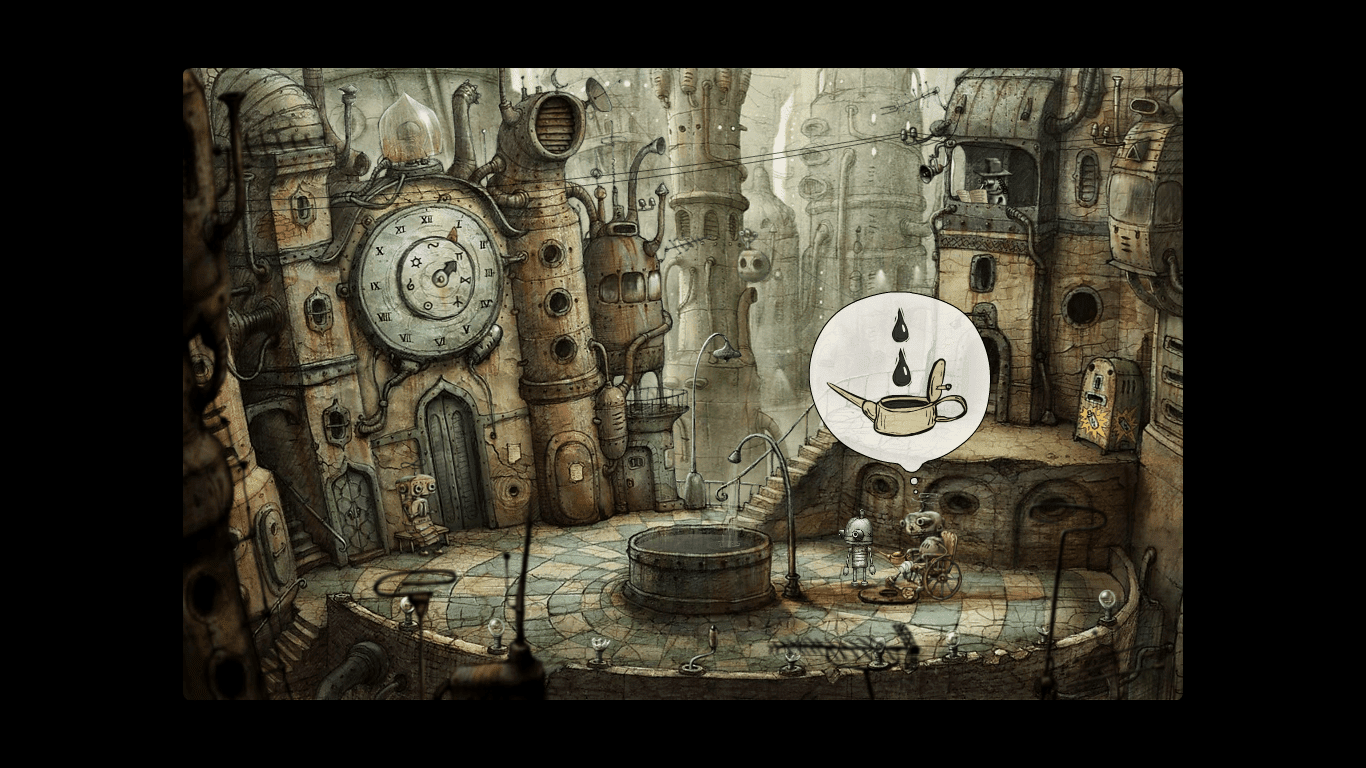 Machinarium dialogue bubble oil