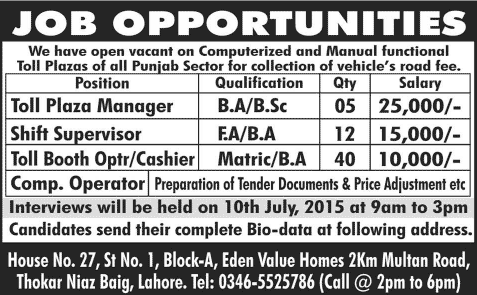 Toll Plaza Manager Shift Supervisor Cashier Jobs In Lahore