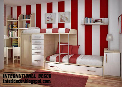 modern striped wall paint idea red white scheme Modern Striped wall paints designs, ideas, colors