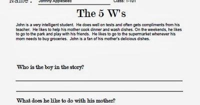 TeachersAssist.com Blog: The 5 Ws Worksheet