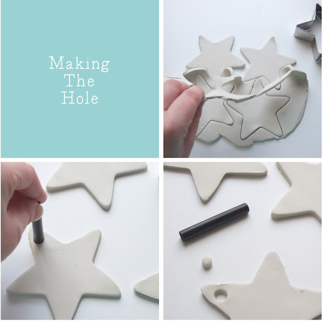 embossed clay stars decorations made from air hardening clay