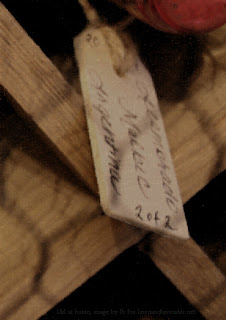 "{l&l} at home - wood labels used for wine bottle labeling - image by lb for linenandlavender.net post:  ""Which wine, which wine...""  - http://www.linenandlavender.net/2013/11/which-wine-which-wine.html"