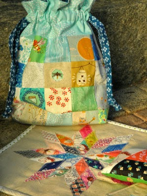 Swap package for my amazing friend with a drawstring bag, mini quilt, coaster and pincushion!
