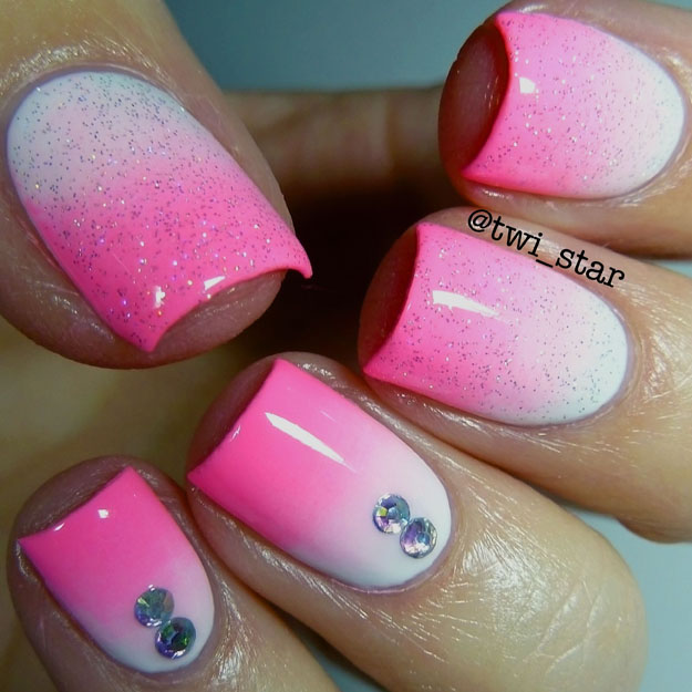 Pink and White Gradient Nails