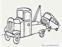 Gambar Mewarnaii Mobil Mogok Sedang Diderek