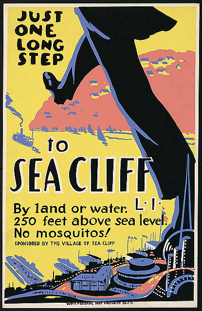 federal art project, wpa, vintage, vintage posters, retro prints, classic posters, free download, graphic design, travel, travel posters, Just One Long Step to Sea Cliff, 250 Feet Above Sea Level - Vintage Travel Poster