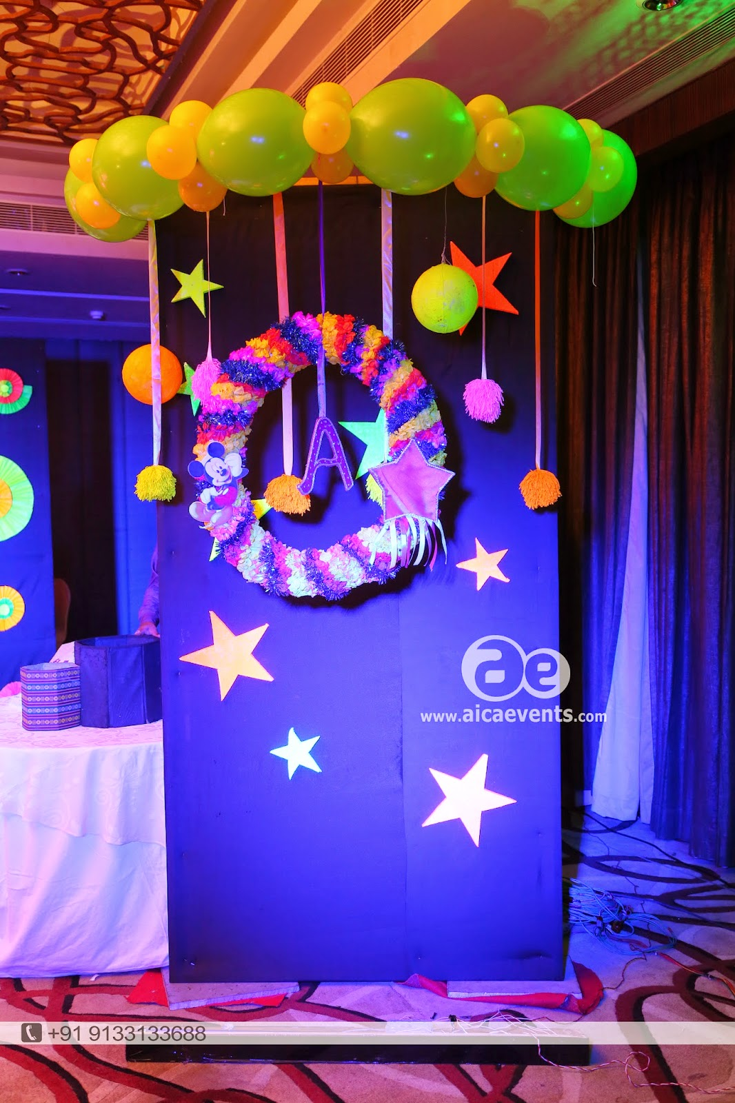 Aicaevents balloon wall stage backdrop decoration for Balloon decoration for stage