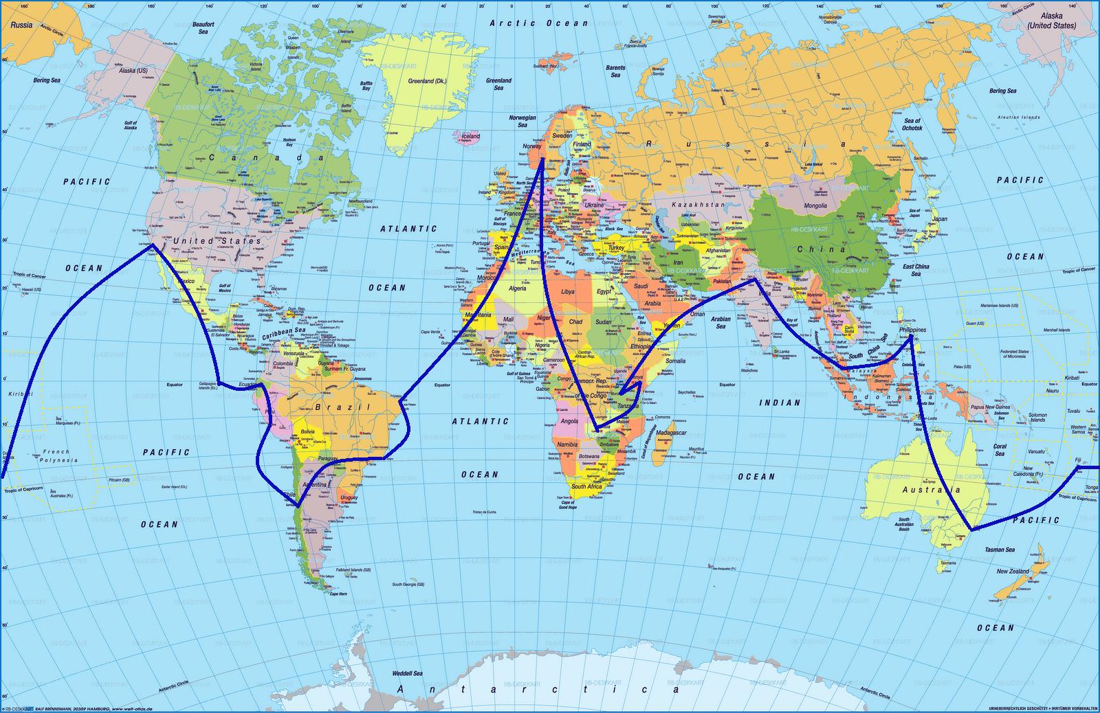 Verdenskart med land og hovedstad