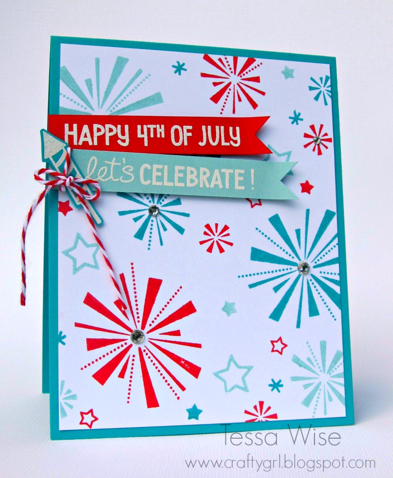 Donu0027t You Love Those Fun Fireworks And Stars? I Used Stampinu0027 Up! Inks In  Pool Party, Bermuda Bay, And Real Red For Them On My Background Panel.