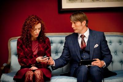 Hannibal Series 1. Freddie Lounds (Lara Jean Chorostecki).Dr Hannibal Lecter (Mads Mikkelsen)
