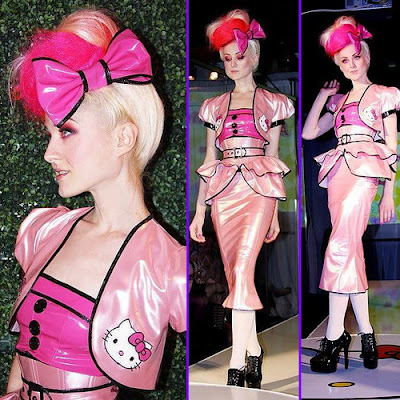 Stylish Hello Kitty cute pink PVC elegant outfit fashion show model