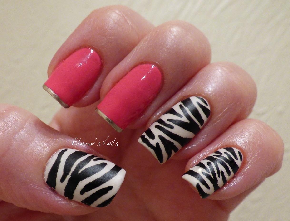 Hot pink and black zebra nails