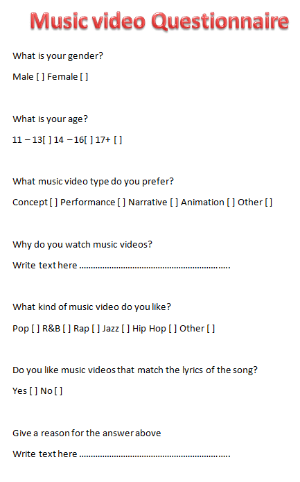 Questionnaire on music videos, would be very much appreciated :)?