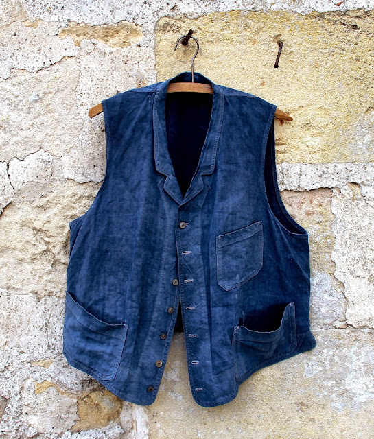 French Indigo Linen Work Vest