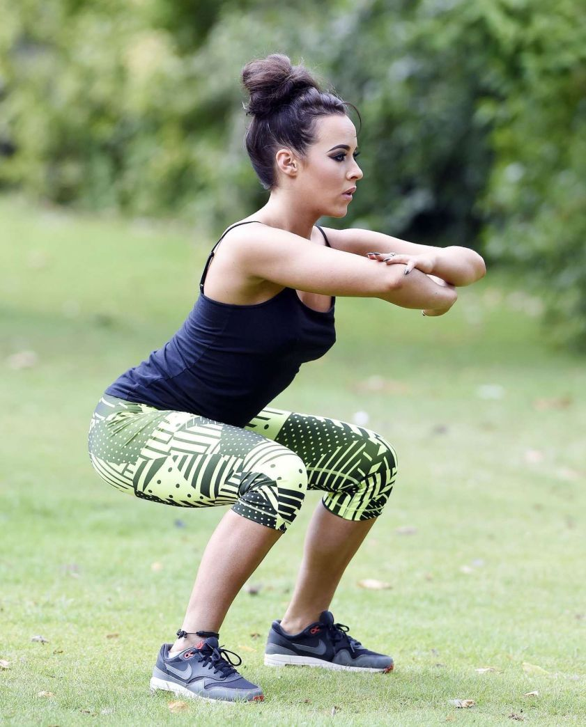 Stephanie Davis Working Out Pictures at a Park in Manchester