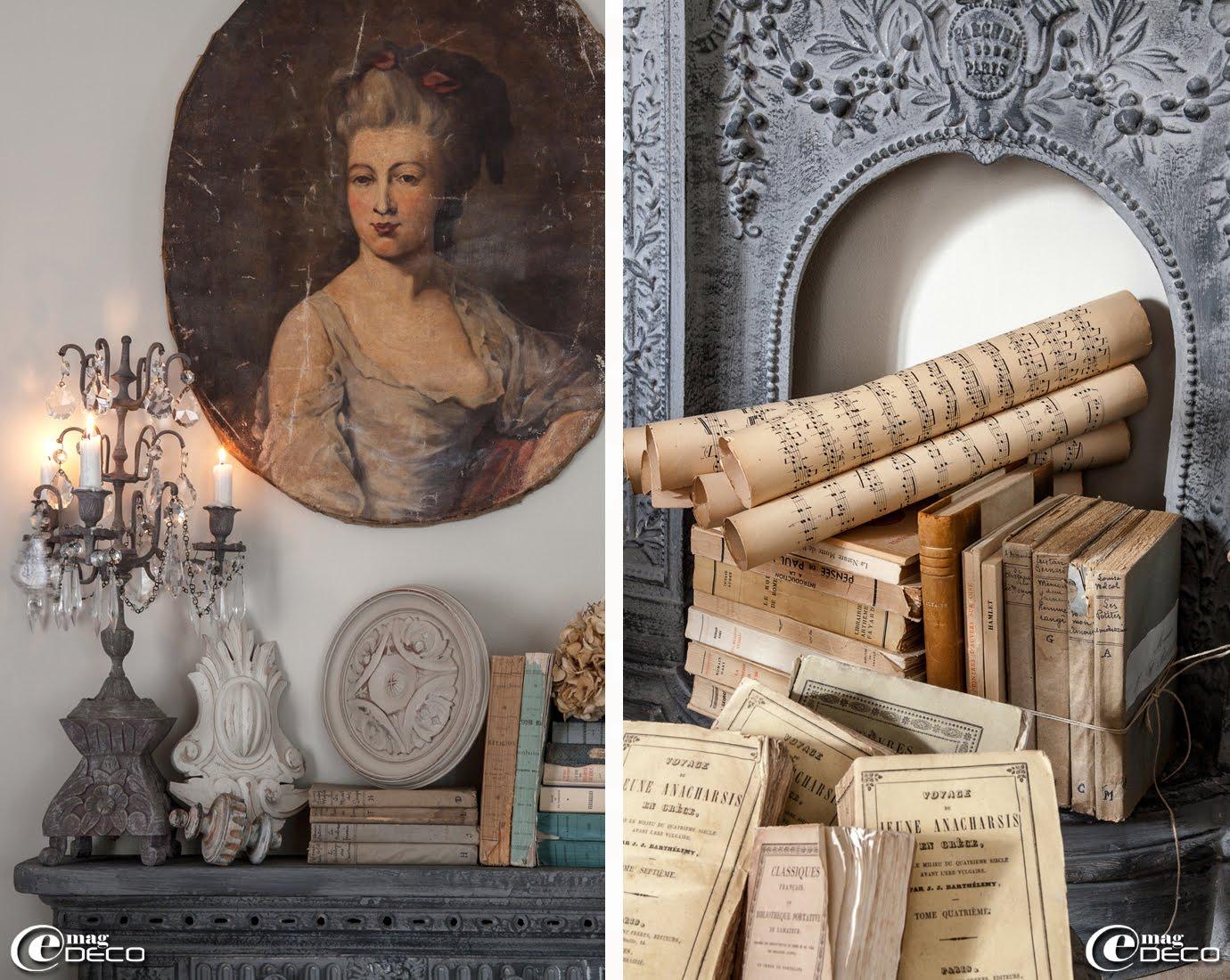 Candélabre chiné chez 'Les Enfants du Marais', livres anciens liés par une ficelle de lin et partitions de musique