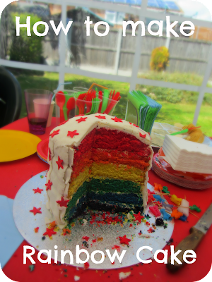 how to make rainbow cake, six layered rainbow cake