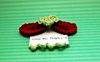 Crochet Bow and Heart Barrette Deep Red and Aqua