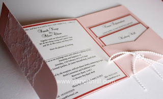 Raised fonts Pocket lace wedding invitation card
