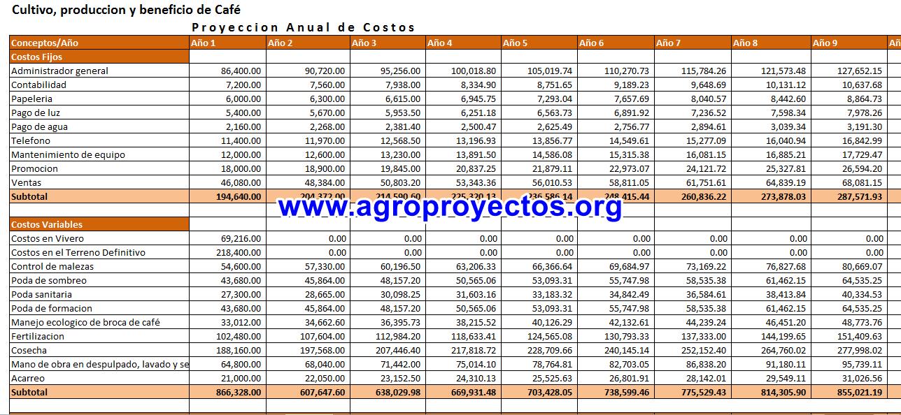 Proyección de costos en cultivo de cafe