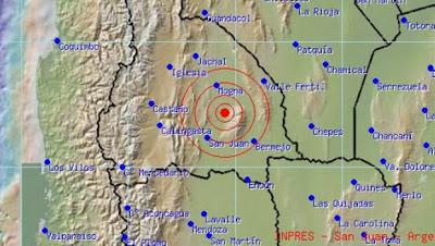 Epicentro sismo 5,6 grados en San Juan, 15 de Enero 2014
