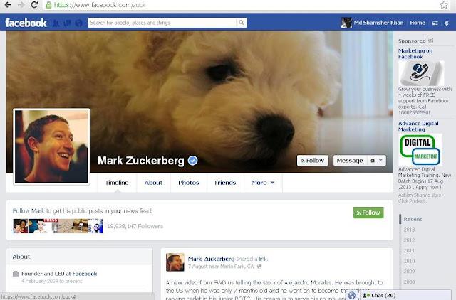 Mark Zuckerberg's Facebook Screenshot