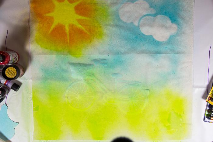 Schablonieren auf Stoff, Plotterdatei Fahrrad, dxf, svg, Schablonen plotten, Wolken, Sonne