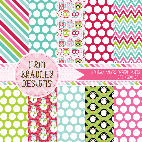 Erin Bradley Designs Christmas Mugs Clipart Digital Paper Pack And Winter Snowflakes Graphics