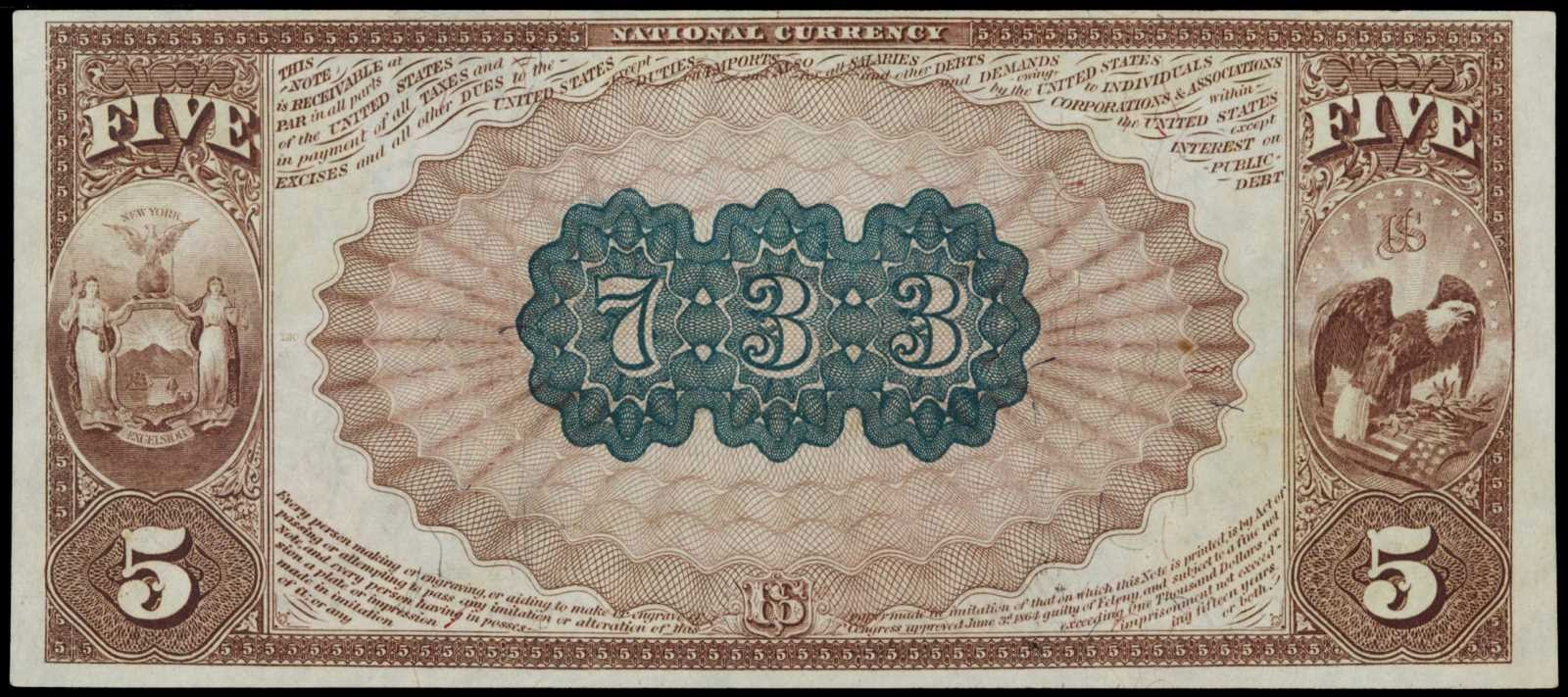 1882 Five Dollar bill National Currency Brown Back