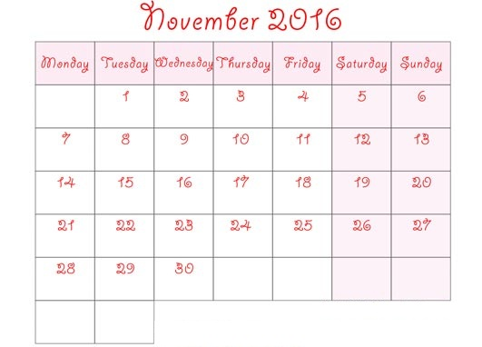 November 2016 Printable Calendar Cute, November 2016 Calendar with Holidays Free, November 2016 Calendar Word Excel PDF Template, November 2016 Blank Calendar Templates Download Free