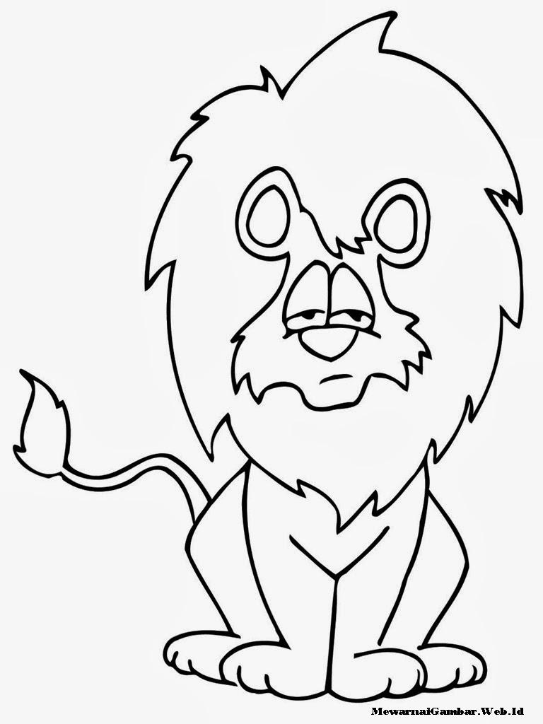 mewarnai gambar singa