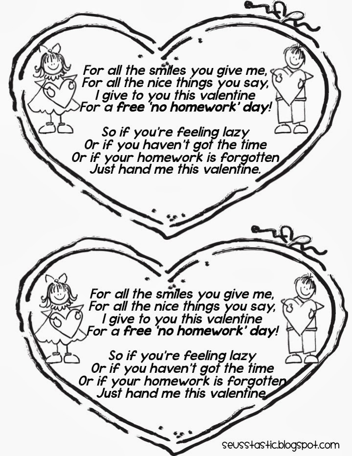 Printable homework pass for valentines day