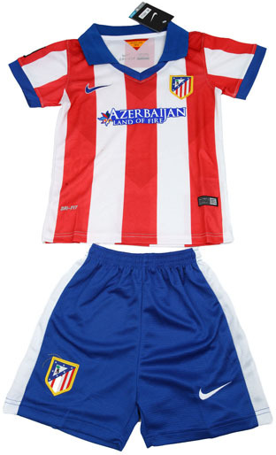 Kaos Jersey Bola Anak Club Atletico Madrid Home Red-Blue Official Musim 2014-2015