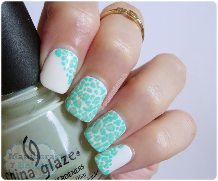 Nail art Animal Print blanco verde menta Reto Colores