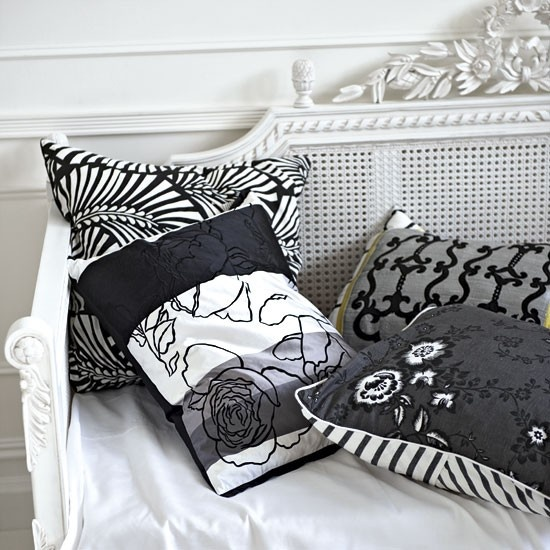 black and white mixed patterns cushions