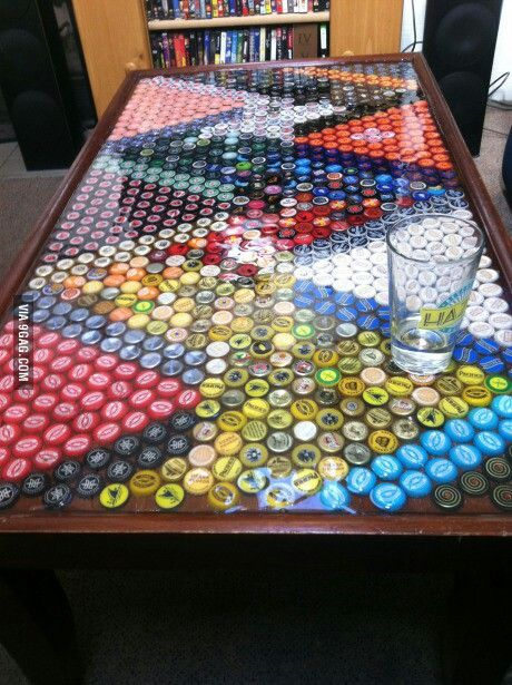 How to recycle bottle cap design on table floor and walls for How to make a table out of bottle caps