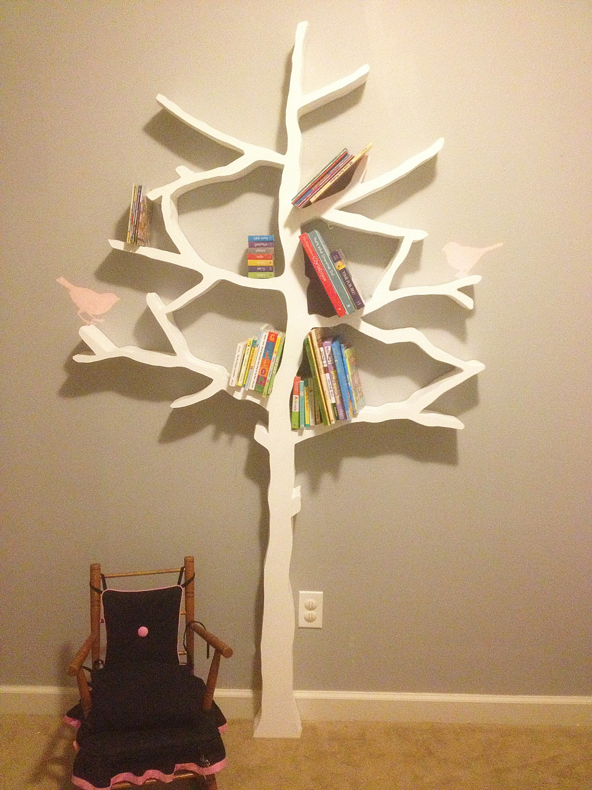 walls under construction diy tree bookshelf -