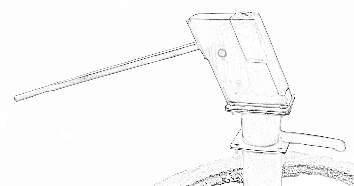 Stock Pictures Hand Pump Sketch And Line Drawing
