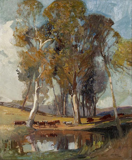 Sydney Long painting - Pastoral Landscape