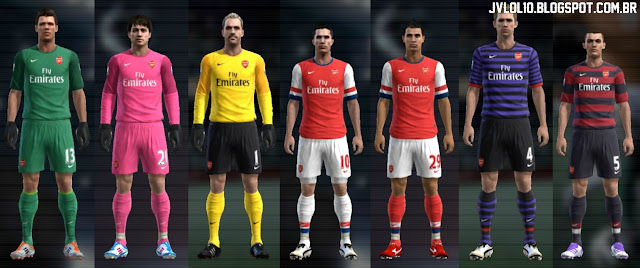 Kit do Arsenal Football Club 2012/13, Kitset do Arsenal 2012/13 para PES 2012 Download, Baixar Uniforme do Arsenal 2012/13 para PES 2012
