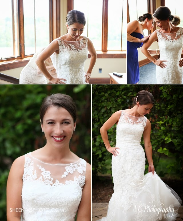 Lace bridal gown sheer panel michigan wedding photographer