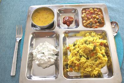 Vegetarian Saffron Rice (Pulao) with Yogurt-Cucumber Salad (Raita)