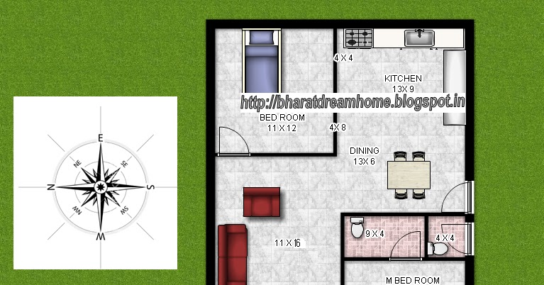 Bharat Dream Home 2 Bedroom Floorplan 700 Sq Ft West Facing