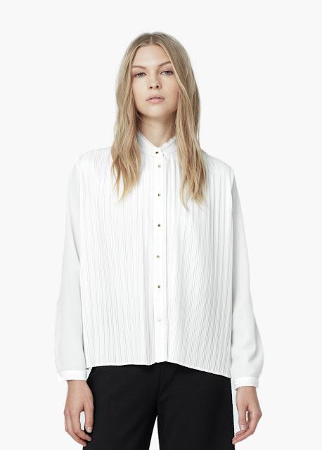 white panel shirt, white striped blouse, mango white shirt,