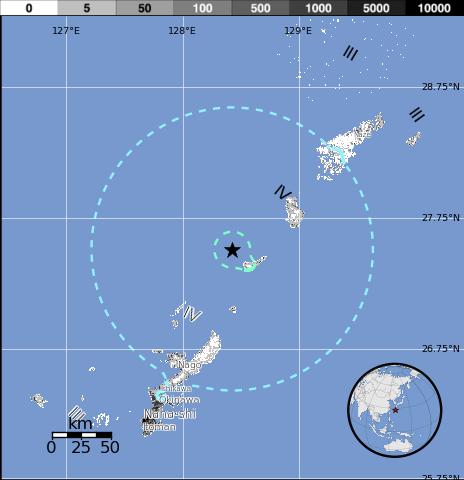 Epicentro sismo japon, 22 de Octubre 2014