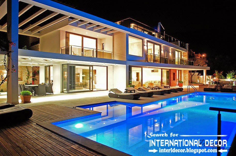 high-tech villas styles with swimming pool, beautiful houses and villas
