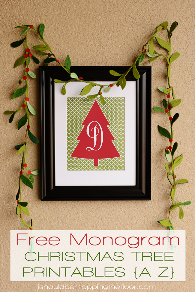 picture relating to Free Monogram Printable named Free of charge Monogram Xmas Tree Printable i really should be mopping