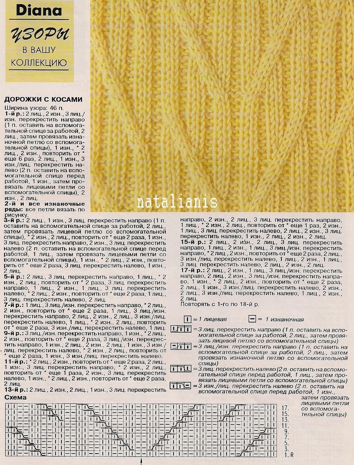 Схемы для вязания спицами с переплетением 290