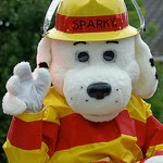 image Sparky the Fire Dog waving free for commercial reuse see caption link for details